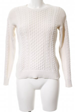 Mango Cable Sweater white cable stitch business style