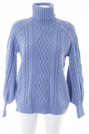 Mango Cable Sweater cornflower blue cable stitch casual look