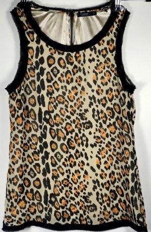Manguun Bluse Gr. XS 34 Leoprint Damenbluse Top Shirt wie NEU Leopard Tanktop