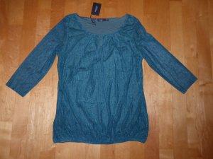 Manguun Collection 3/4-Arm Tunika Shirt Print Grün transparent gefüttert 40 Neu