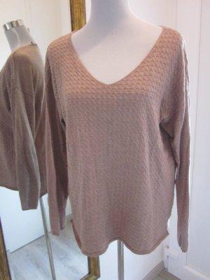 Manguun Feinstrick Pullover V Ausschnitt Hellbraun Beige Gr 42