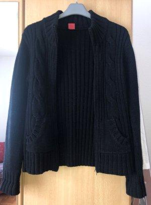 Manguun Coarse Knitted Jacket black cotton