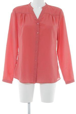 Manguun Langarm-Bluse hellrot schlichter Stil
