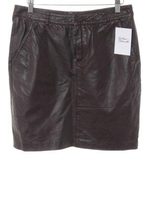 Manguun Leather Skirt dark brown elegant