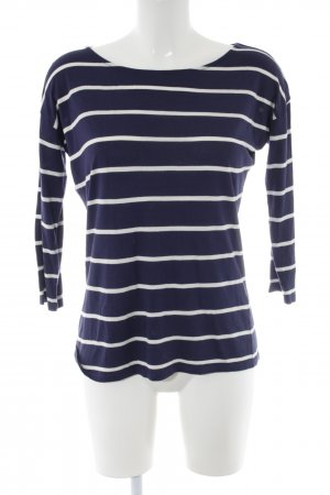 Manguun Maglione lungo blu-bianco motivo a righe stile casual