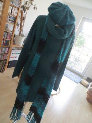 Manguun Oversize Longpullover+Rolli+Schal+Mütze smaragdgrün Gr.L 40 42 44