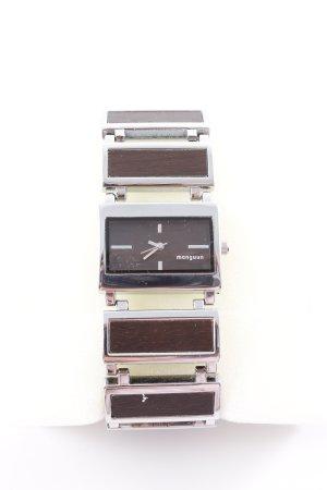Manguun Uhr mit Metallband silberfarben-dunkelbraun Casual-Look