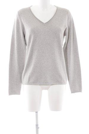 Manguun V-Ausschnitt-Pullover hellgrau Casual-Look