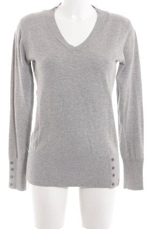 Manguun V-Ausschnitt-Pullover hellgrau meliert Casual-Look