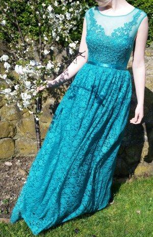 maniju Abendkleid mit Spitze grün Smaragd 38 Neu