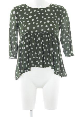 Manila Grace Langarm-Bluse dunkelgrün-weiß Punktemuster Casual-Look