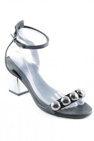 Manila Grace Strapped High-Heeled Sandals black-silver-colored elegant