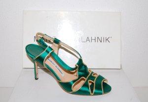 Manolo Blahnik High-Heel Pump - Sandalette Smaragd - Gold Gr.37,5