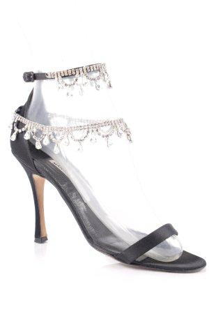 Manolo Blahnik High Heel Sandaletten schwarz-silberfarben Eleganz-Look