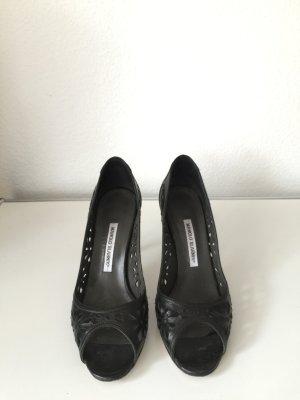 Manolo Blahnik Peep Toe High Heels Leder Schwarz 40,5 Pumps