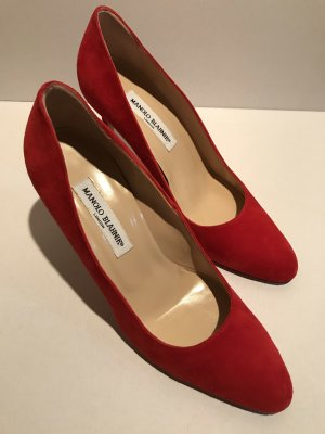 Manolo Blahnik Pumps Gr 40,5 Wildleder Rot Luxus