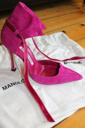 Manolo Blahnik Pumps HighHeels NEU 38 1/2 Pink sexy Riemchen