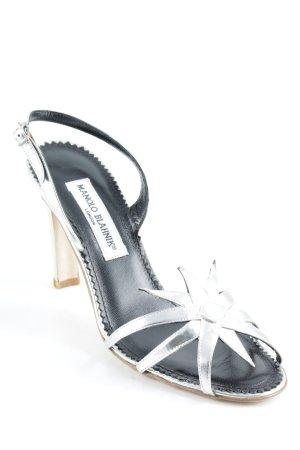Manolo Blahnik Riemchen-Sandaletten silberfarben Elegant