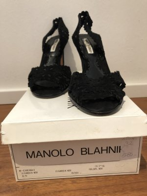 Manolo Blahnik High Heel Sandal black leather