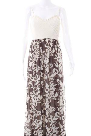 Manoukian Abendkleid creme-dunkelbraun florales Muster Elegant