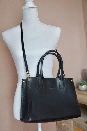 Manoukian Tasche schwarz Leder Gold neu!