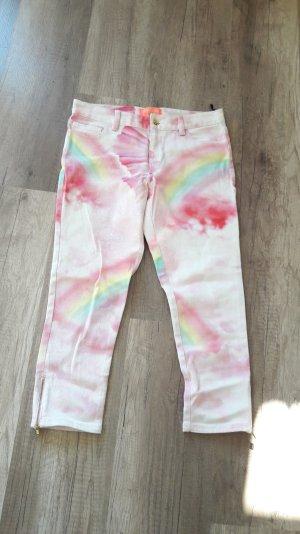 Manoush Hose Jeans Capri Regenbogen Rainbow Batik Dip Dye Neon