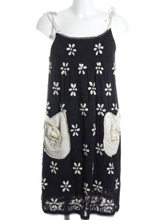 Manoush schulterfreies Kleid schwarz-creme Blumenmuster 70ies-Stil