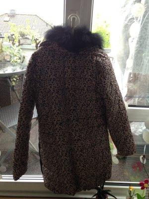 Abrigo de piel sintética marrón claro-negro Poliéster