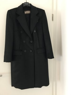 John Galliano Heavy Pea Coat black merino wool