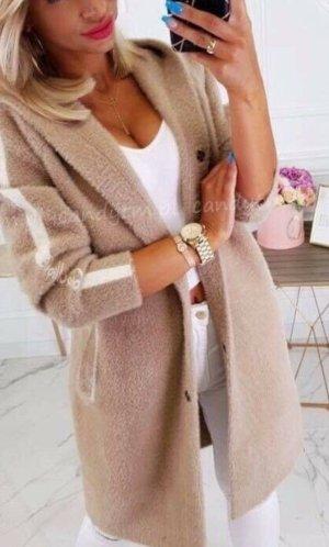 100% Fashion Abrigo con capucha beige