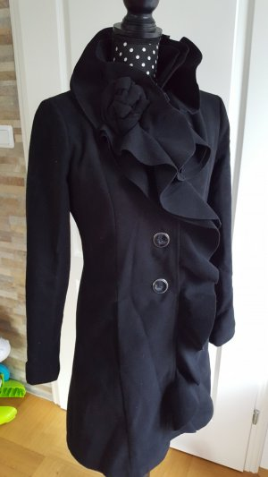Cappotto in lana nero Tessuto misto