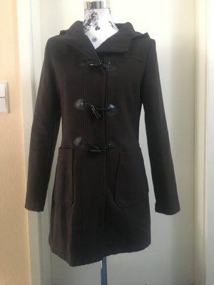 Manteau à capuche brun foncé polyester