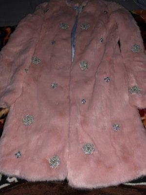 Cappotto in eco pelliccia color oro rosa