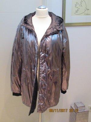 Zara Chaqueta para exteriores color plata-negro tejido mezclado