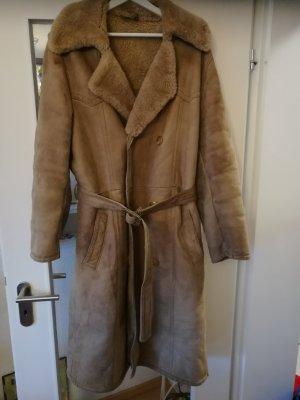 Mantel aus echtem Lammfell Leder Zweireiher warm und kuschelig 46
