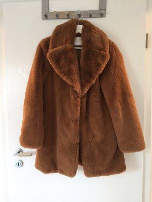 Zara Woman Chaqueta de piel marrón-coñac