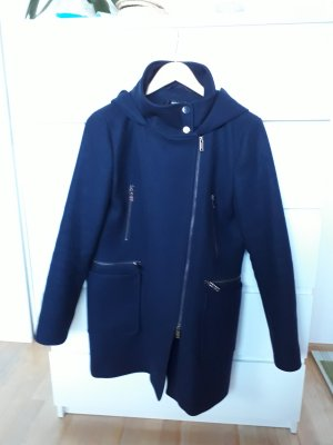 Hallhuber Hooded Coat dark blue wool