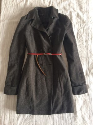 Mantel aus Wolle mit Gürtel rot Leder