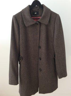 Mantel aus Wollgemisch in Muster mit Brauntönen