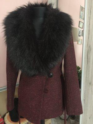 H&M Fake Fur Coat bordeaux-dark brown