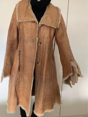 Manteau en cuir marron clair cuir