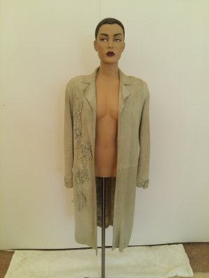 Mulberry Leather Coat sage green suede