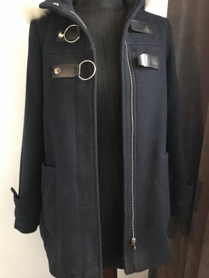 Zara Heavy Pea Coat dark blue