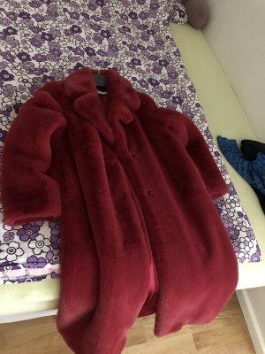 NA-KD Pelt Coat red fake fur