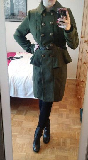 Mantel Gr 38 M Peplum schösschen grün Damen Zweireiher offizier militär military
