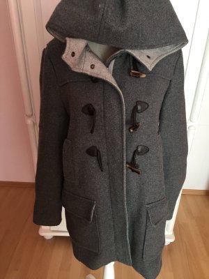Mantel grau mit Kapuze