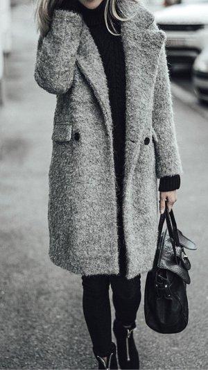 Zara Abrigo de invierno multicolor tejido mezclado