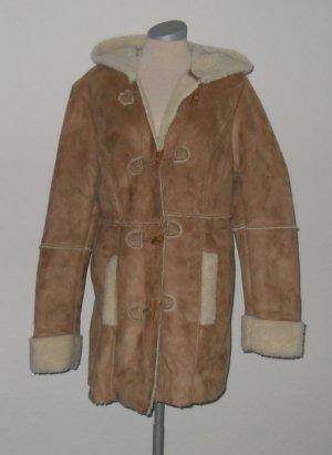Mantel halblang braun beige Gr. L 40 42 + Kapuze Velour