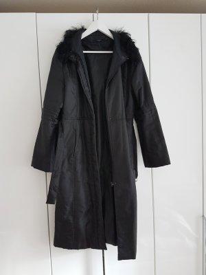 Mantel Hallhuber schwarz lang mit Fell Trenchcoat