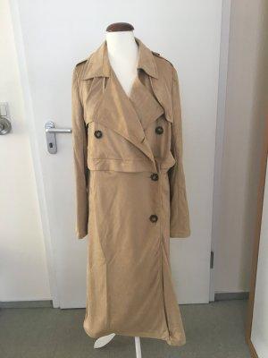Mantel Jacke beige hellbraun Sommermantel Wildlederoptik